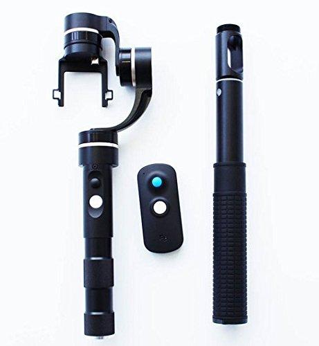 Preisvergleich Produktbild Gowe 360Grad Deckung 3Axis Motoren Stabilisator Handheld Gimbal + Kabellose Fernbedienung Joystick + Stab für GoPro 3/3+/4