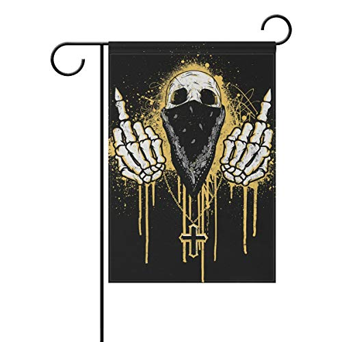 HEOEH Totenkopf-Maske mit Kreuz für den Garten, Hof, doppelseitig, dekorative Flagge, 30,5 x 45,7 cm 28x40(in) Mehrfarbig