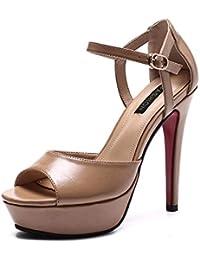 KOKQSX-Chicas Tacones Altos Tacones Colores Salvajes Nude Impermeable mesas Zapatos  de Mujer. Treinta cb0c5e7cf92a