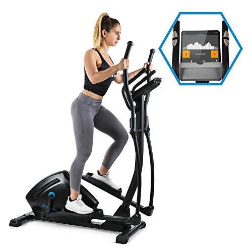 Capital Sports Helix Track Cross-Trainer mit Trainingscomputer Heimtrainer (Bluetooth, Kinomap-Applikation, MagResist-Magnet-Widerstand, 18 kg Schwungmasse, Tablethalter, USB-Ladebuchse) schwarz