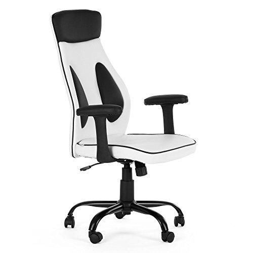MY SIT Profi Bürostuhl ergonomisch mit Armlehnen & hoher Rückenlehne Kunstleder Weiß bis 120kg Chefsessel Drehstuhl Bürosessel Computerstuhl Bürodrehstuhl Drehsessel PC Stuhl moderne Büromöbel