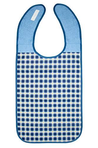 Zollner Lätzchen für Erwachsene Erwachsenen Lätzchen, dunkelblau-kariert, ca. 45x90 cm, wasserdicht