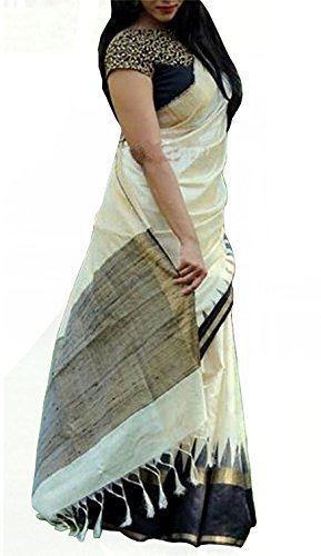 Sarees (Women\'s Clothing Saree For Women Latest Design Wear Sarees New Collection in WHITE Coloured BHAGALPURI SILK Material Latest Saree With Designer Blouse Free Size Beautiful Bollywood Saree For