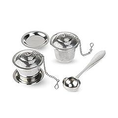 Idea Regalo - OUNONA Infusori per Tè Infusore Tè in Acciaio Inossidabile (Set da 2 Pezzi) con Tè Scoop e Vaschette