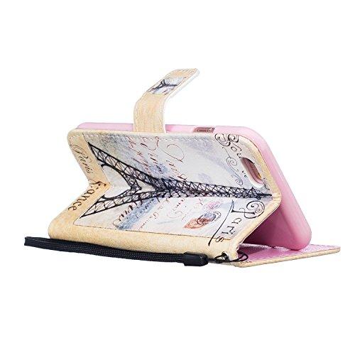 Coque iphone 6, iphone 6s Coque, Housse IPHONE 6 6S, Cozy Hut ® Motif Dessin animé Housse en Cuir Case à Avec Dragonne rabat Coque de Intérieure Protection Souple Coque Portefeuille TPU Silicone Case  carte postale