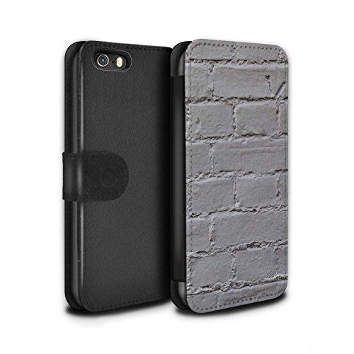 Stuff4 Coque/Etui/Housse Cuir PU Case/Cover pour Apple iPhone 5/5S / Silex / Pierre Design / Maçonnerie Collection Peints/Gris