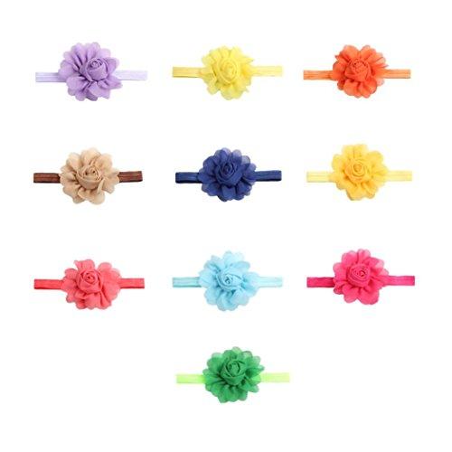HKFV 10PC Kind-Mädchen-Baby-Kleinkind-Säuglingsstirnband-Haar-Blumen-Band-Haar-Zusätze Stretch Tuch große Haare mit Baby Kopf (Kostüme Haar Stücke Für Tanz)