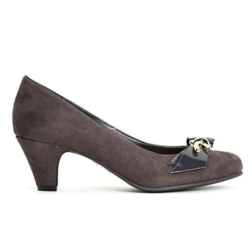 Estradà Par Shoes & Shoes - Chaussures À Talons Avec Accessoire En Or Et Nœud En Cuir Verni Anthracite
