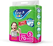 Fine Baby Diapers, DoubleLock Technology , Size 5, Maxi 11–18kg, Mega Pack. 70 diaper count