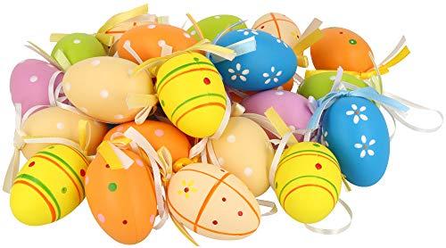 COM-FOUR® 24 Uova di Pasqua con Gancio di Nastro di Seta, Colorate Decorazioni pasquali [Selezione Varia] (24 Pezzi - Mix 2)