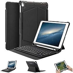 OMOTON Housse Clavier iPad 9.7-AZERTY français,Coque Clavier pour iPad 2018(Gen 6)/2017 (Gen 5)/iPad Air 2/iPad Air, Étui Détachable pour Clavier Bluetooth sans Fil avec Support Magnétique