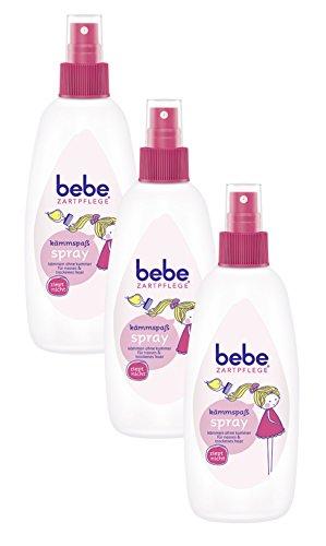 bebe Zartpflege Kämmspaß Spray/Haarpflege-Spray mit Arganöl für leichte Kämmbarkeit / 3 x 200ml