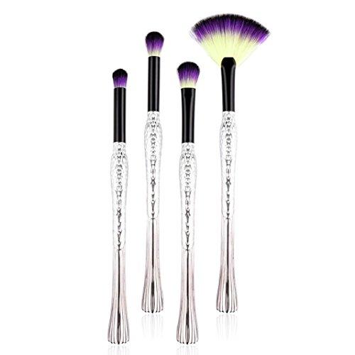 Sisit 4 pinceaux de maquillage Pro Set Foundation poudre poudre à paupières Eyeliner Lip Brush Tool, fabriqué à partir de fibre de nylon ~ 22cm (Argenté)
