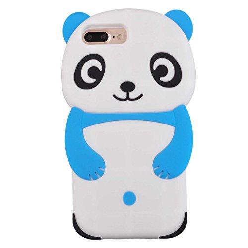 Voguecase® Pour Apple iPhone 7 Plus 5,5, TPU avec Absorption de Choc, Etui Silicone Souple, Légère / Ajustement Parfait Coque Shell Housse Cover pour iPhone 7 Plus 5,5 (Panda-Noir)+ Gratuit stylet l'é Panda-Bleu