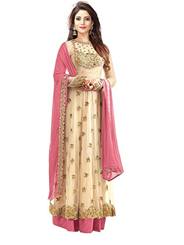 Clothfab Women's Net Sequins Embroidered Bridal Party Wear Anarkali Salwar Suit Dress Material (Dresses-25002_Brown-Colour_Free Size)