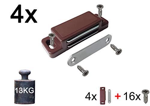 4x Magnetschnäpper Schrankmagnet Haltekraft 13 KG | SET mit Schrauben | braun | Türmagnet Schranktür-magnet Magnet-Türschliesser Haltemagnet Möbelmagnet Magnetschloss stark Tür | MIND CARE ESSENTIALS