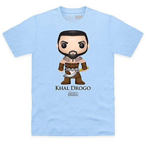 Official Game of Thrones - Funko POP Khal Drogo Camiseta, Para hombre, Azul celeste, XL