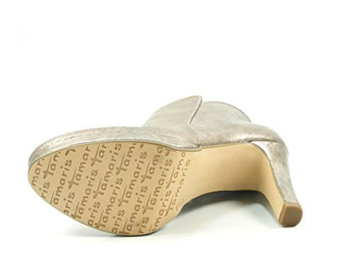 Tamaris 1-25316-20-915 Schuhe Damen Stiefeletten Metallic Plateau Ankle Boots Silber