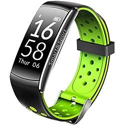 Reloj inteligente Monitor de ritmo cardíaco IP68 Rastreador de ejercicios a prueba de agua Presión arterial GPS Bluetooth for Android IOS mujeres hombres Reloj (Color : Green)