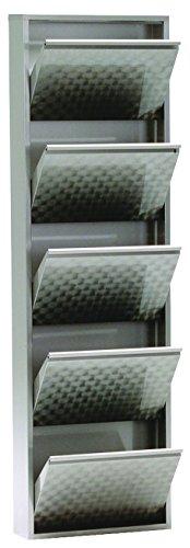 Magazin-Möbel simple.*M* 4001070442376 Schuhklappschrank, 50 x 15 x 171 cm, metall, grau