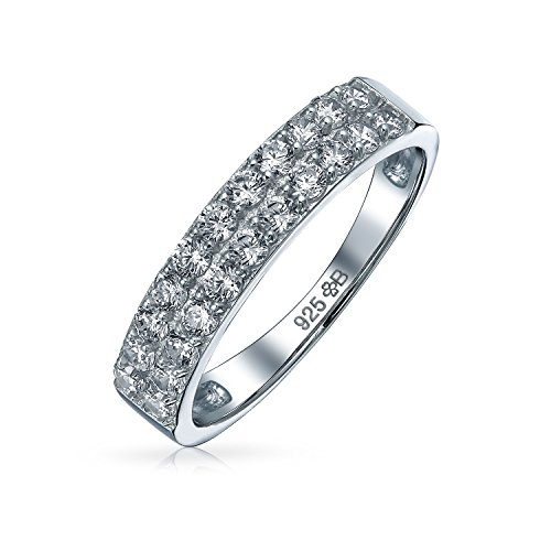 Bling Jewelry CZ Double rangée la moitié Eternity 925 Silver