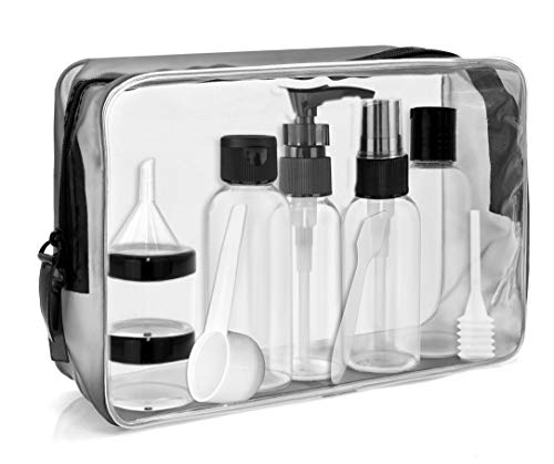 MyGadget Reise Set - Kosmetiktasche transparent in L mit 6 Reiseflaschen Container für Shampoo, 100ml Flüssigkeiten - Flugzeug Kulturtasche Handgepäck