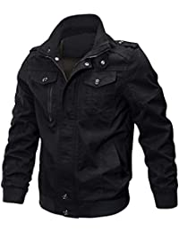 4c58d998a2739 KEFITEVD Men's Cotton Windbreaker Jacket Military Zipper Bomber Cargo  Outwear Jackets Coat