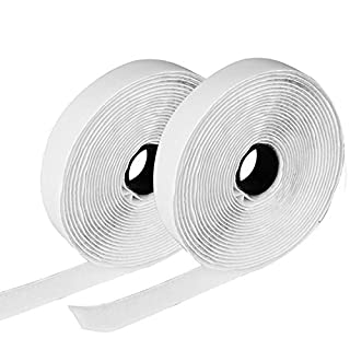 Hook and Loop Tape, Etmury Self Adhesive Sticky Tape, Heavy Duty Hook Loop Tape Reusable Double Sided Sticky Tape Roll -White(5M)