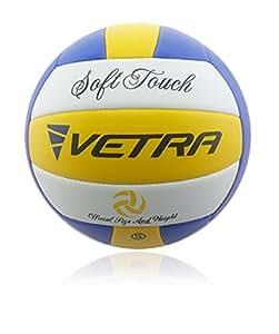 VETRA pallavolo soft Touch Palla Volley ufficiale Size 5 all'aperto al coperto spiaggia palestra Gioco Palla nuovo (Giallo / Blu / Bianco)