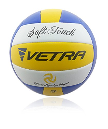 Vetra Volleybälle weich berühren Bälle Größe 5 officially Gelb/Blau/Weiß Or Grün/Blau/Weiß Strand im Freien Innen Sporthalle Spiel New (Gelb/Blau/Weiß)