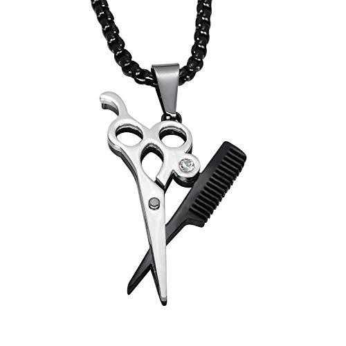 YDMSGSB Halskette Damen Kette Titan Stahl Friseurschere Kamm Anhänger Schmuck Geschenk für Damen, zwischen schwarz