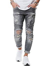 RedBridge Herren Jeans Hose Denim Slim Fit Destroyed Zerrissen Verwaschen Grau M4077