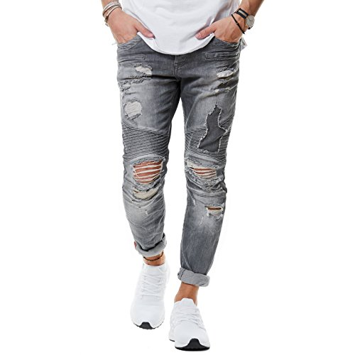 RedBridge Herren Jeans Hose Denim Slim Fit Destroyed Zerrissen Verwaschen Grau M4077, Farbe:Grau;Hosengröße:W36 L34