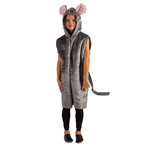 Krause & Sohn Kinderkostüm graue Maus Overall Plüsch Tierkostüm Mäusekostüm Fasching (98/104) (Mädchen Graue Maus Kostüm)