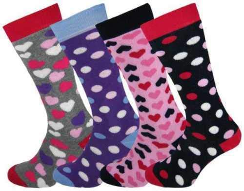 4 x Girls Boys Kids Children Wellington Welly Polka Dot Design Thermal Ski Warm Long Socks