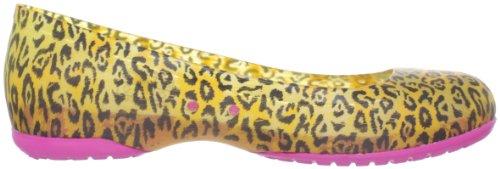 Crocs Carlisa Brushed Leopard Print Flat Women, Ballerines femme Jaune (Burst/Fuchsia)