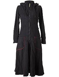 Vishes – Alternative Bekleidung – Langer, warmer Fleece Mantel mit Zipfelkapuze