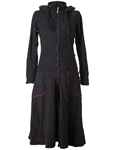 Vishes - Alternative Bekleidung - Langer, Warmer Fleece Mantel mit Zipfelkapuze schwarz 44 (Herbst Kostüm)
