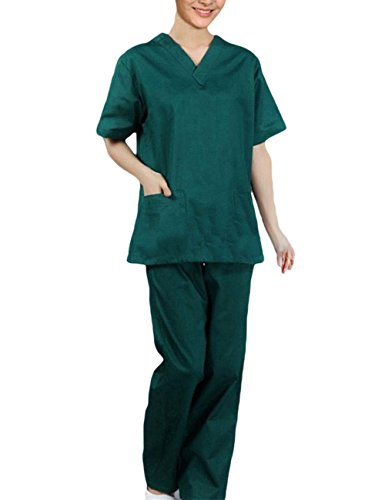 asack Schlupfjacke+Schlupfhose Set Medizin Arzt-Uniform Chirurg Berufskleidung Krankenschwester Kasack Bekleidung (Ärzte Uniform)