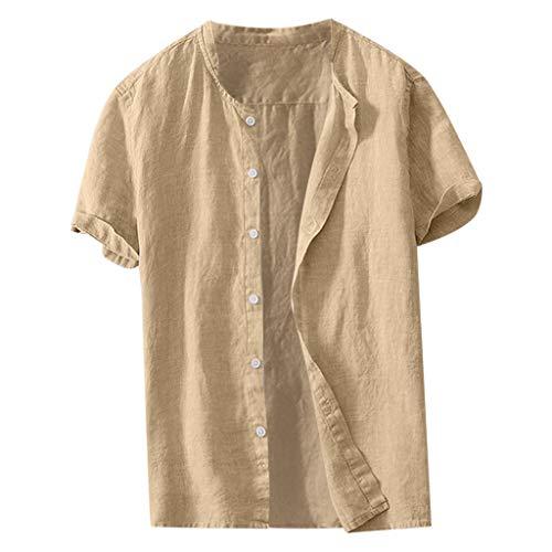 TWISFER Herren Leinenhemd Henley Freizeithemd Kurzarm Regular Fit Kragenloses Shirt Leinenhemd Henley Shirt Button-down Sommerhemd Herren Freizeithemden aus Leinen und Baumwolle Camp Vest
