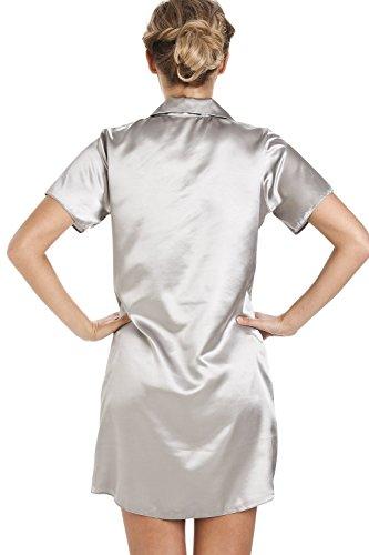 Chemise de nuit longueur genoux - satin - argenté Argent