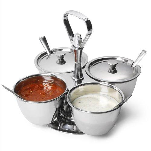 Bar@drinkstuff Relish Servierschüsseln aus Edelstahl, 4 Saucen, Curry, Gewürz, Dipschalen Relish Dish Bowl