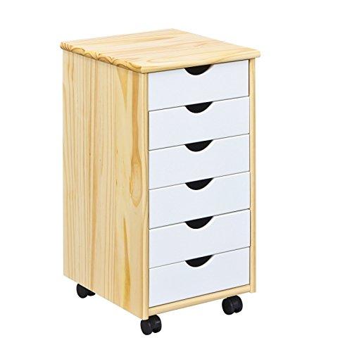 Esidra grambling cassettiera 6 cassetti con ruote, legno, bianco, 36x40x65 cm