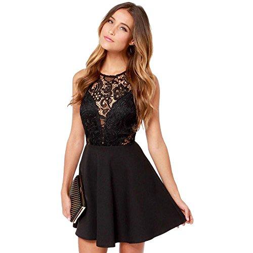 MRULIC Damen Mini Lovely Partykleid Sommerkleid Spitze Kleid Cocktailkleid Festlich Partykleid Eine...
