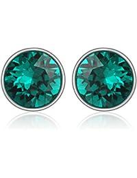 Mahi Rhodium Plated Green Bolt Earrings Made with Swarovski Elements for Women ER1104083RGre