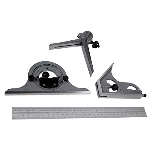 Homyl 1 Set 12 Zoll Kombinationsquadrat Winkelmesser Lineal 0-180 Grad, Silber