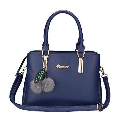Frauen PU Leder Henkeltaschen mit Hairball Vintage Tasche Handtasche Umhängetasche Damen (Dunkelblau)