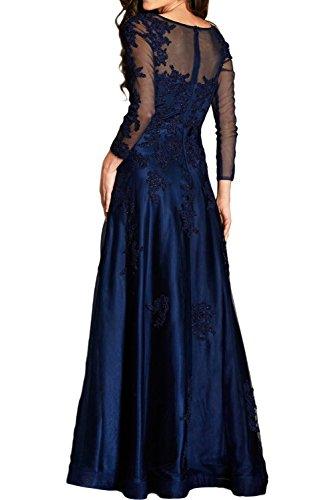 Gorgeous Bride Hochwertig Lang Aermel A-Linie Satin Tuell Spitze Rundkragen Abendkleid Festkleid Ballkleid Schwarz