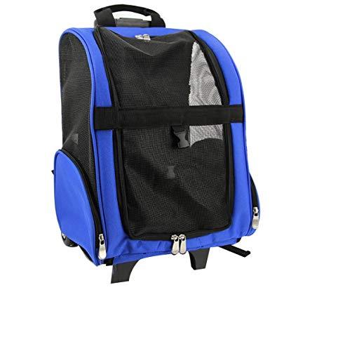 Reiserucksack Tasche Katze Hündchen Träger w/Trolley und Teleskopgriff tragbaren Kinderwagen Rad Gepäcktasche (blau & rot) (Farbe : Blau, Size : L) - W Hundehütten