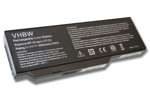 vhbw Li-Ion Akku 6600mAh (11.1V) für Notebook Laptop Medion Akoya E8410, P7610, P8610, P8611, P8612, P8614 wie BP-Dragon GT(S), 40019327, MIM2070.
